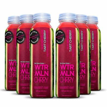 Cold Pressed Watermelon Juice With Organic Tart Cherry (WTRMLN CHRRY) - Deliciously Hydrating 100% Fresh Fruit Juice, Pulp-Free, Natural Drink With No Added Sugar or Water, 6 Pack, 12 Ounce Bottle