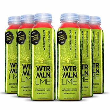 Cold Pressed Watermelon Juice With Organic Lime (WTRMLN LME) - Deliciously Hydrating 100% Fresh Fruit Juice, Pulp-Free, Natural Drink With No Added Sugar or Water, 6 Pack, 12 Ounce Bottle