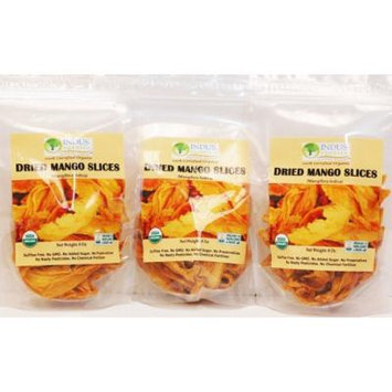 Indus Organics 100% Dried Mango Slices, Raw,24 Oz (3 Pack), Sulfite Free, No Added Sugar, Premium Grade, Freshly Packed