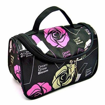 StylesILove Womens Compact Cosmetic Organizer Beauty Essential Makeup Bag (Multi Roses Black)