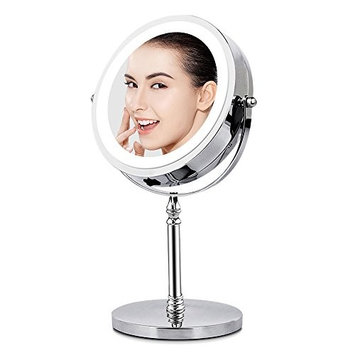BRIGHTINWD Makeup Mirror with Lights, Vanity Mirror with Lights & 10X Magnification Lighted Tabletop Magnifying Mirror, Double Sided, 360 Rotation, Polished Chrome Finish