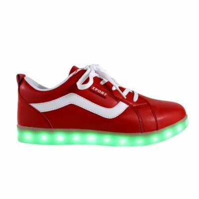 Galaxy LED Shoes Light Up USB Charging Low Top Sport Women's Sneakers (Red)