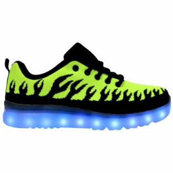 Galaxy LED Shoes Light Up USB Charging Low Top Inferno Flames Women's Sneakers (Green)