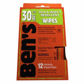 Ben's Tick & Insect Repellent Wipes, 30% Deet 12.0 ea(pack of 12)