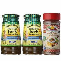 Walkerswood Traditional Jamaican MILD Jerk Seasoning 10oz and Carib Dry Jerk Seasoning (Pack-of-3)