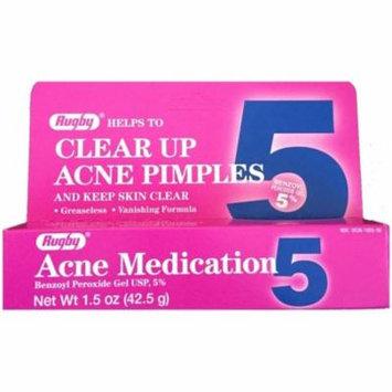 3 Pack - Rugby Acne Medication Benzoyl Peroxide Gel 5 % 1.5 oz