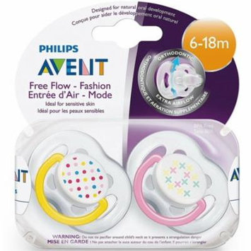 2 Pack - Philips Avent BPA Free Freeflow Pacifiers 6-18 Months, Assorted Colors 2 ea
