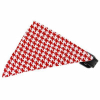 Red Houndstooth Bandana Pet Collar Black Size 12