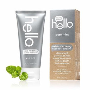 Hello Oral Care Extra Whitening Fluoride Toothpaste, Pure Mint, 4.2 Oz