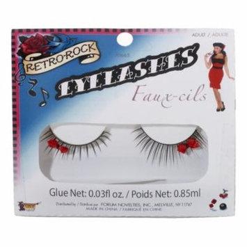 Retro Rock 30's Eye Lashes Eyelashes w/ Bow Theatrical Makeup Costume Accessory
