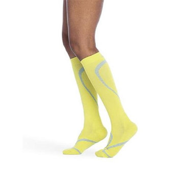 Sigvaris 412CML64 Medium Ankle Long Leg Closed Toe Traverse Socks for Men & Women - Limeade