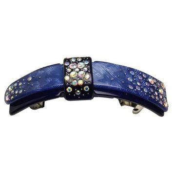 Fancy Dual Layer Ribbon Crystal Rhinestone Hair Barrette - Lavender Purple