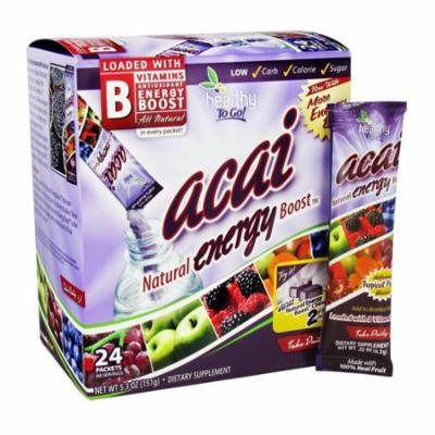 To Go Brand Acai Natural Energy Boost Powder, Tropical Punch, 24 Packets, 2 Pack