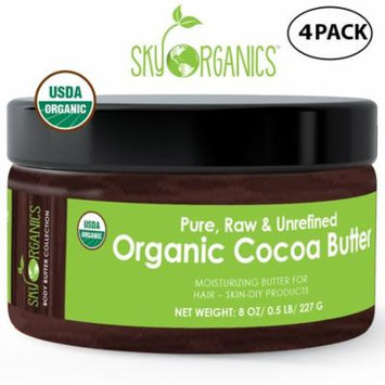 Organic Cocoa Butter By Sky Organics: Unrefined, 100% Pure Raw Cocoa Butter 8oz (4 pack)– Skin Nourishing, Moisturizing & Healing, for Dry Skin, Stretch Marks - Skin Care, Hair Care & DIY Recipes