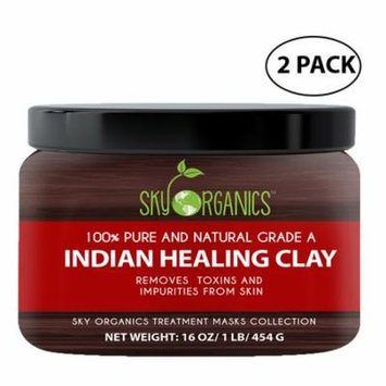 Indian Healing Clay By Sky Organics 16oz –100% Pure & Natural Bentonite Clay-Therapeutic Grade - Face Skin Care, Deep Skin Pore Cleansing, Detoxifying- Acne & Rejuvenating - Made in USA (2 Pack)