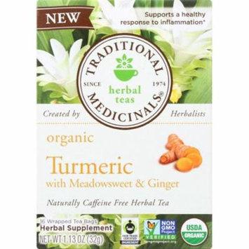 Traditional Medicinal Organic Turmeric With Meadowsweet & Ginger Herbal Tea, 16 Bg (Pack Of 6)
