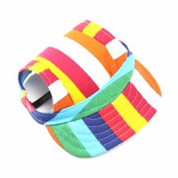 Pet Dog Canvas Hat Sports Baseball Cap with Ear Holes for Small Dogs - Size M (Colorful Stripe)