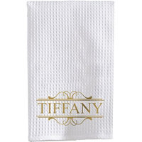 Personalized Name Waffle Weave Towel, Gold Font
