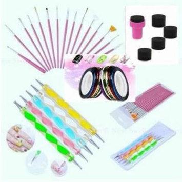 Smarit Nail Art Design Set 15 Nail Painting Brush + 5 Swirl Dotting Pen + Gradual Color Sponge Stamper + 10 Nail Striping Tapes