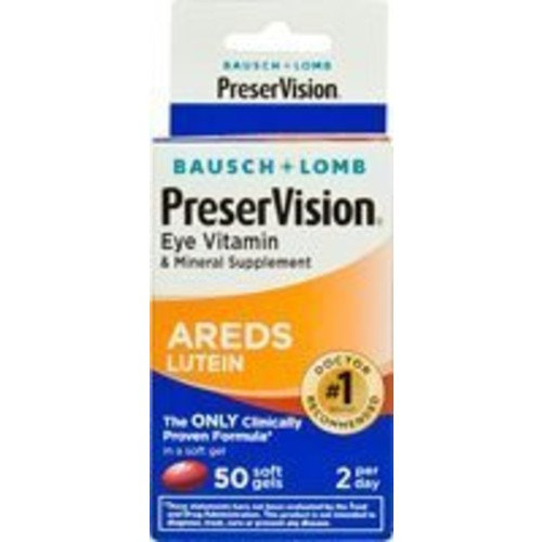 Bausch + Lomb PreserVision with Lutein Eye Vitamin & Mineral Supplement, 50 Count Soft Gels