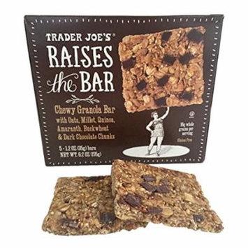 Trader Joe's Raises the Bar Gluten Free Chewy Granola Bars, 5 Count Box, 1.2 oz Bars (Dark Chocolate Chunk)
