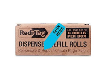 Redi-Tag/B. Thomas Enterprises Flags and Dispensers SIGN HERE Blue