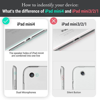 ESR iPad Mini 4 Case, Simplicity Series Premium Folio Case, Book Cover Design, Multi-Angle Viewing Stand, Smart Cover with Auto Sleep/Wake Function for Apple iPad Mini 4