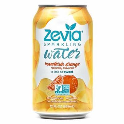 Zevia Mandarin Orange Sparkling Water 12 oz Cans - Pack of 24