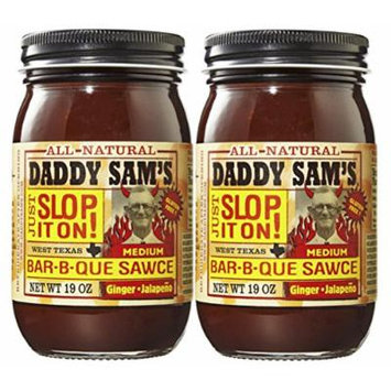 Daddy Sam's All Natural Ginger Jalapeno Barbecue BBQ Sauce 19 Ounce. Pack of 2