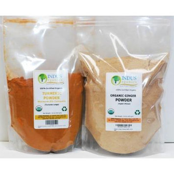 Indus Organics Turmeric (6 % Curcumin) & Ginger Powder, Combo Pack, 1 Lb Each, Premium Grade, High Purity, Freshly Packed