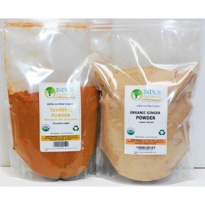 Indus Organics Turmeric (6 % Curcumin) & Ginger Powder, Combo Pack, 1 Lb Each, Premium Grade, High Purity, Freshly Packed