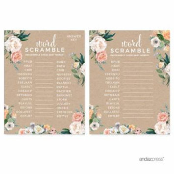 Peach Rustic Floral Garden Party, Word Scramble Game Cards, 20-Pack, Games