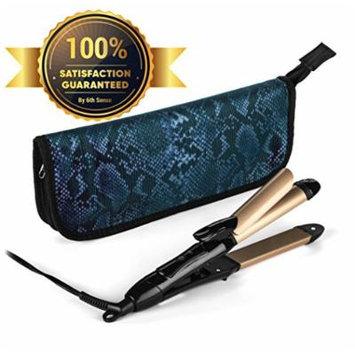 2-in-1 Mini Hair Straightener Travel Flat Iron/Curling Iron Dual Voltage 374 Degree Temperature Nano Titanium - Insulated Carry Bag Included (Black)
