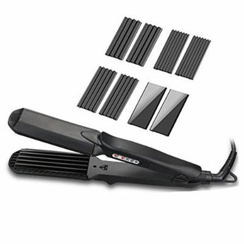 4 in 1 Curling Iron, Accellorize Hair Crimper Hair Straightener Hair Waver with 4 Kinds of Interchangeable Plates Professional Ceramic Styling Iron with Smart Temperature Control