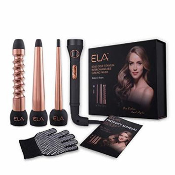 ELA Hair Curling Iron and Wand Set with Interchangeable Titanium Barrels (32/32mm Spiral Roller, 19/32 Tapered wand, 9/18mmTwirl) Professional Salon Styling Tool