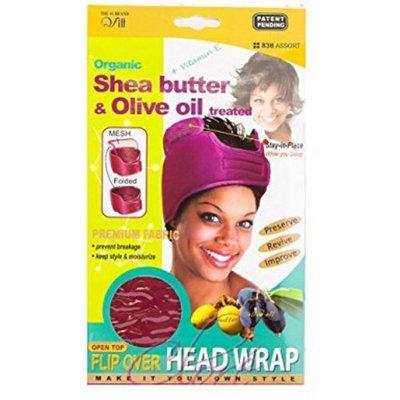 (PACK OF 6) Qfitt Organic Shea Butter & Olive Oil Treated Flip Over Head Wrap #838 Assort : Beauty