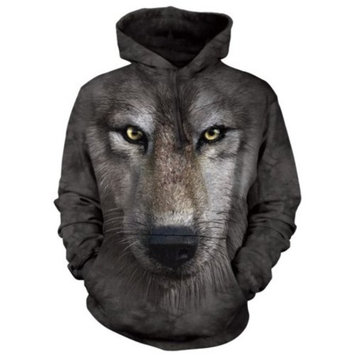 Grey Cotton Blend Wolf Face Awesome Animal Hoodie Cool (Small)