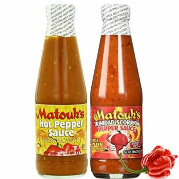 Matouk's HOT PEPPER SAUCE and Trinidad Scorpion Pepper Sauce 10oz (Pack of 2)