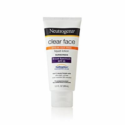 Neutrogena Clear Face Liquid-Lotion Sunscreen SPF 55 3.0 oz.(pack of 4)