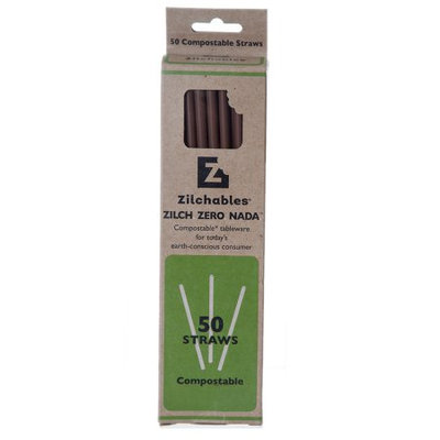 Zilchables Compostable Tableware, Brown Straw, 50 Ct