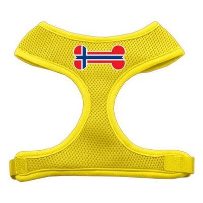 Mirage Pet Products Bone Flag Norway Screen Print Soft Mesh Dog Harnesses, Medium, Yellow
