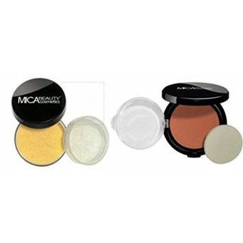 MICA Beauty Face Mineral Makeup Kit: Loose Powder Foundation MF4-Honey + Pressed Compact Powder Blush MBP-2 Desert Dusk