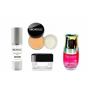 Mica Beauty Bundle of 4 Items: Makeup Primer + Moisturizer + Powder Foundation Mf3-toffee + Arogan Oil