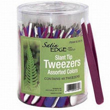 Satin Edge Slant Tip Tweezers In A Container 3 Colors (48 per Count) by Satin Edge