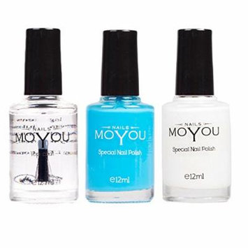 MoYou Nails Stamping Nail Polish Pack of 3: Top Coat, White and Light Blue (Sky Pearl) Colours used for Stamping Nail Art to Create Beautiful Shinny and Fashionable Nails Sourced Directly from the Manufacturer