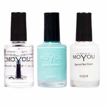MoYou Nails Stamping Nail Polish Pack of 3: Top Coat, White and Powder Blue Colours used for Stamping Nail Art to Create Beautiful Shinny and Fashionable Nails Sourced Directly from the Manufacturer