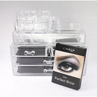 1 Cameo Cosmetics Perfect Brow- Dark + 1 Clear Acrylic Cosmetics Organizer 4 Drawers with 8 Compartments Top Section