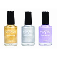 MoYou Nails Stamping Nail Polish Pack of 3: Gold, Silver and Lilac (Violet) Colours used for Stamping Nail Art to Create Beautiful Shinny and Fashionable Nails Sourced Directly from the Manufacturer
