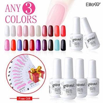 Elite99 Pick Any 3 Colors Soak Off Gel Nail Polish UV LED Color Nail Art Gift Set + 10 PCS Free Remover Wraps