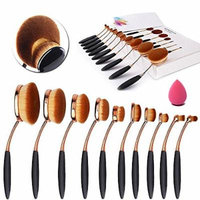 Yosoo 10 Pieces Oval Makeup Brush Set Professional Foundation Concealer Blending Blush Liquid Powder Cream Cosmetics Brushes, Toothbrush Curve Makeup Tools for Face and Eyes (Rose Golden)